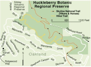Huckleberry trail map - notice dotted line from Pinehurst Road and the loop it reaches