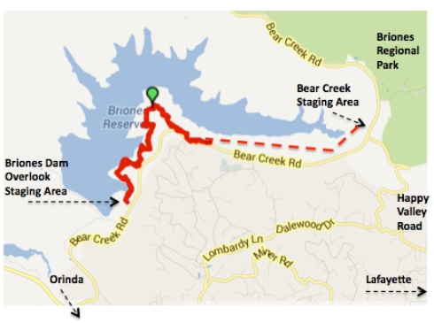 Map of Bear Creek Trail - red line shows hiking for 45 minutes from Briones Dam side of trail.