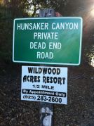 Hunsacker Canyon Road Sign