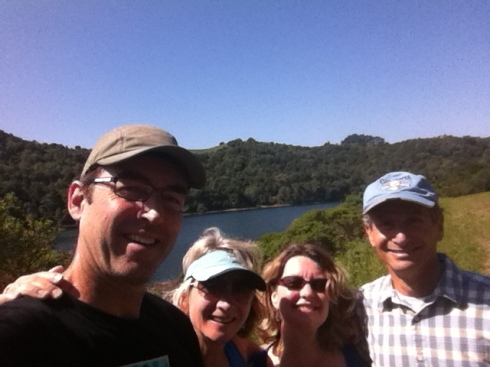 Selfie picture at turnaround point with friends Rick & Alicia!