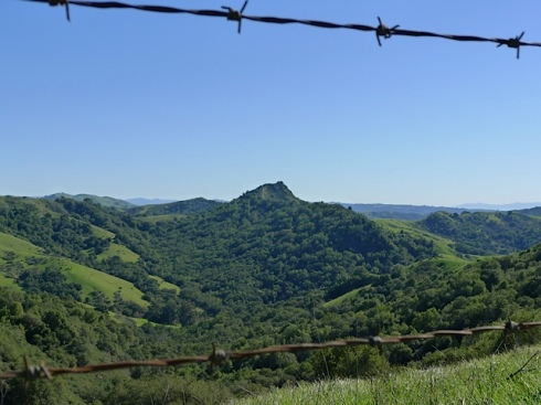 View of Ramage Peak through barbed wire fence - nearing the end of the trail